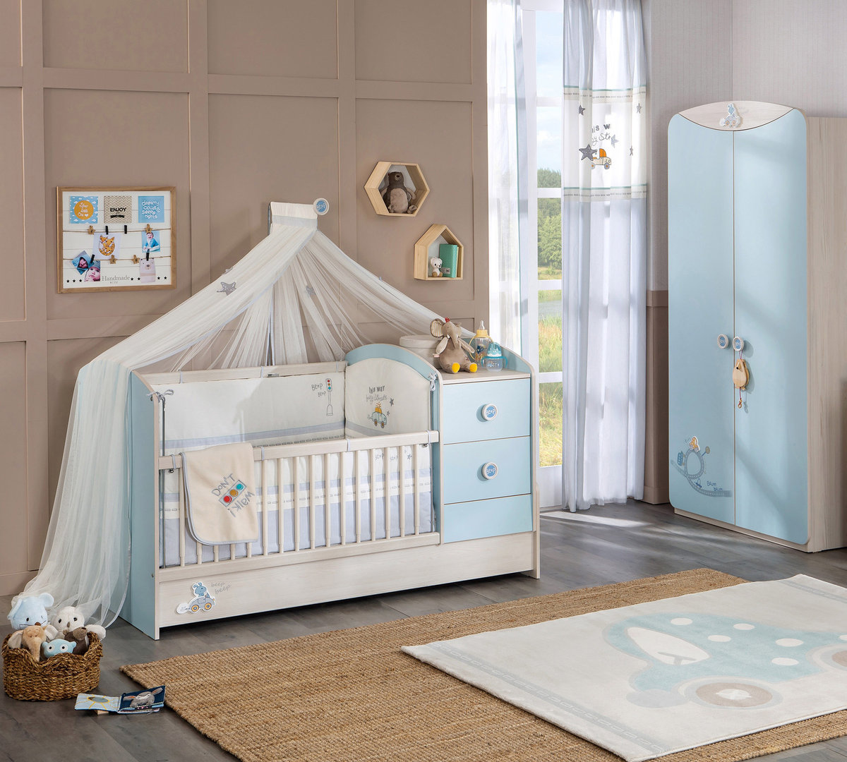 bymm kinderzimmer babyzimmer babyblue 6 teil precogs. Black Bedroom Furniture Sets. Home Design Ideas