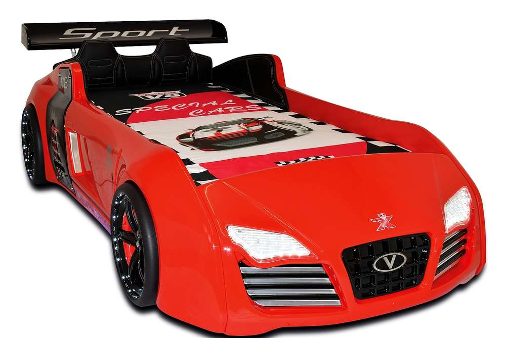 byMM Cilek Autobett Turbo V8 Sport rot + Rost + Sportpack + LED + 1 ...