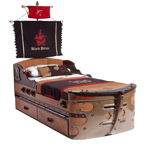 Piratenbett Blackpirate Bett Kinderbett by MM Schiffbett + HARIBO