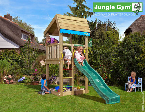 Jungle Gym Spielturm Jungle Home + Rutsche + Frei Haus 290 cm