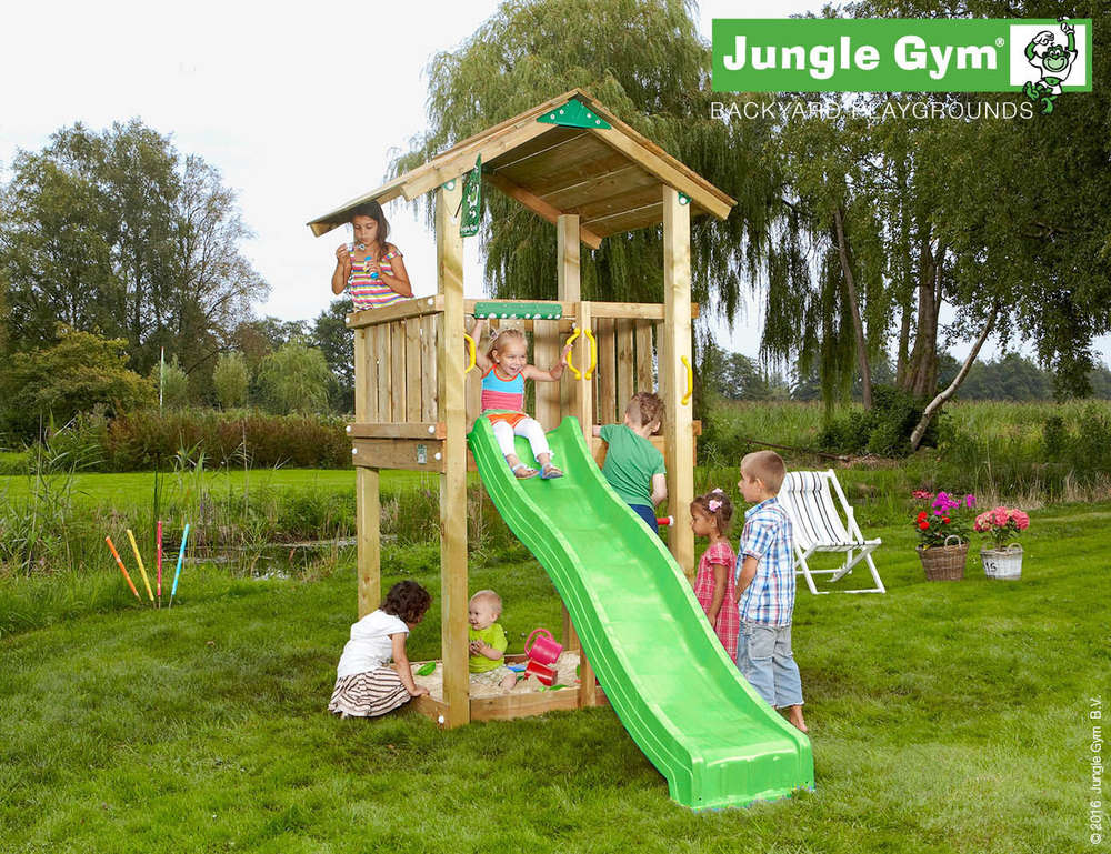 Klettergerüst Jungle : Jungle gym barn with slide and additional module house
