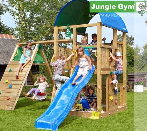 Jungle Gym Farm + Rutsche + Schaukel + Klettergerüst Climb Modul