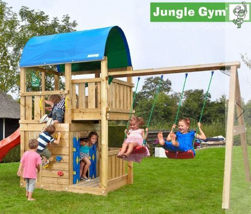 Jungle Gym Spielturm Farm + 2 Swing Schaukel + Rutsche